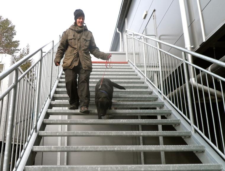 Ebba Bakteman och labradoren Raya var trygga i gallertrapporna.